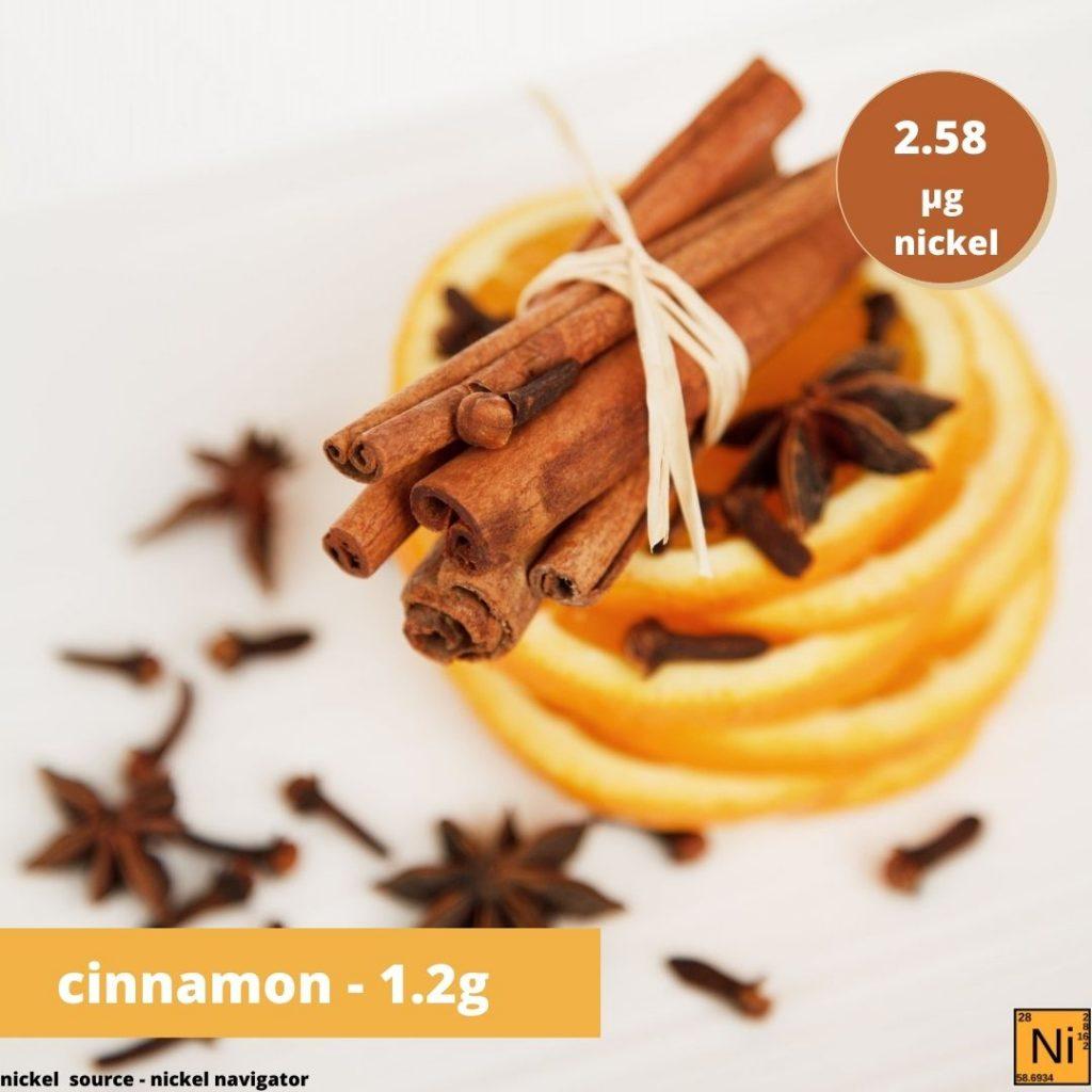 cinnamon 1.2g - nickel 2.57ug
